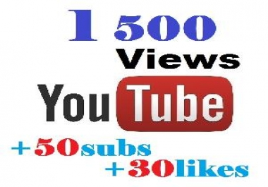 provide 1 500 views to your youtube video + 30likes+50subs