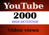 deliver 2000 High Retention Youtube views fast and bonus likes