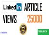deliver 25 000 Linkedin article views fast