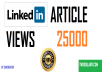 deliver 25 000 Linkedin article views fast