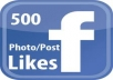add you Permanmt 500+ plus Face book Photo /posts likes