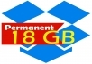 increase your dropbox space to 18GB for life time