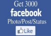 provide you Real 3000 Plus Facebook post Likes